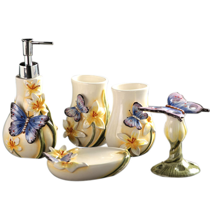 Bathroom Suite Ceramic Sanitary Ware Bathroom Five-piece Kit Washing Butterfly Dance Xinlan Washing Bathroom Amenities LO726330