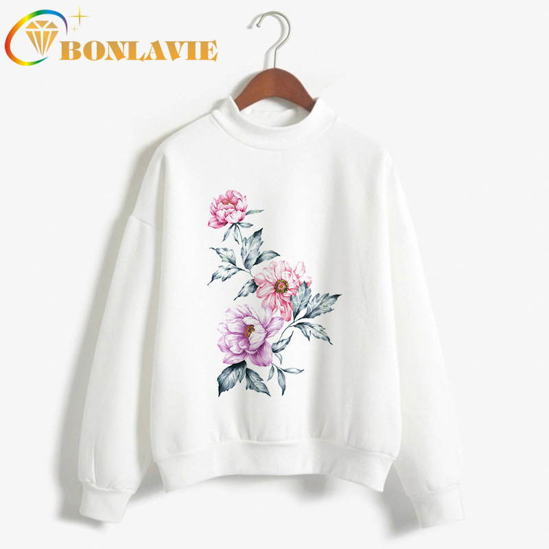 Women Cloth Autumn And Winter Printing White Sweatshirt Sweatshirt Long Sleeve O-Neck Pullovers Solid White With Print Pattern