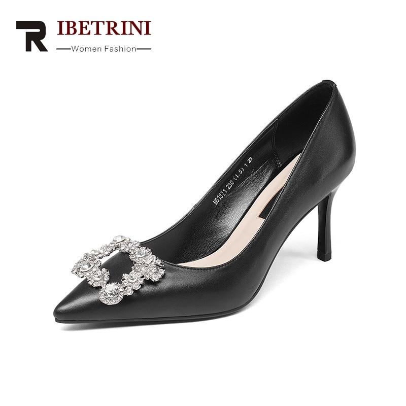 RIBETRINI 2018 Pavasara rudens modes eleganta metāla apdare - Sieviešu apavi