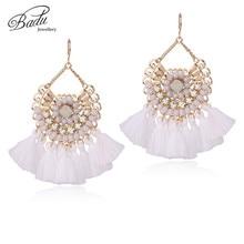 Badu White Tassel Earring Women Crystal Elegant Dangle 2017 Baroque Design 3 Colors Bohemian Jewelry Handmade