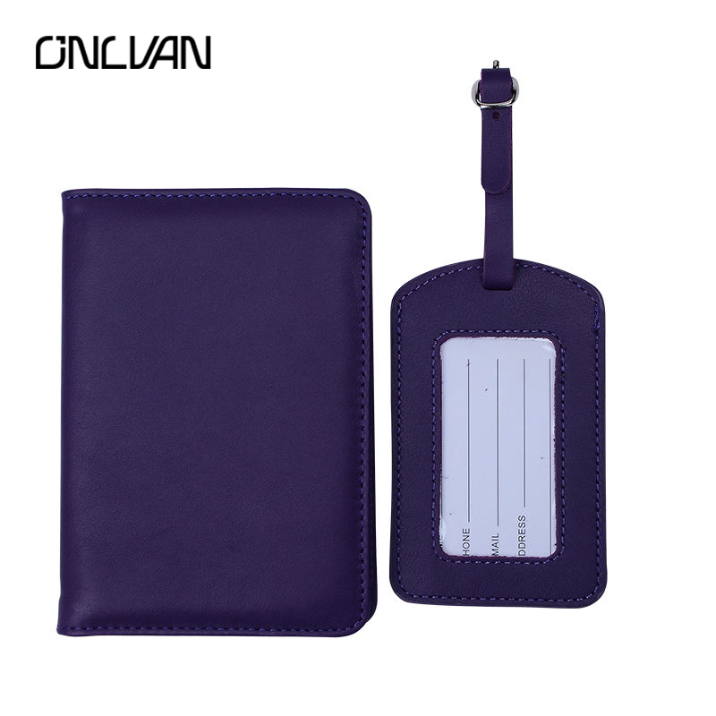 ONLVAN Passport Cover and Luggage Tag High Quality Genuine Leather Travel Accessories Passport Holder Bag Tags Name Tag