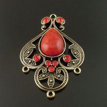 4 шт. античный бронзовый сплав красный имитация драгоценных камней подвески ювелирные изделия найти разъем 46*35*8 мм для ожерелья