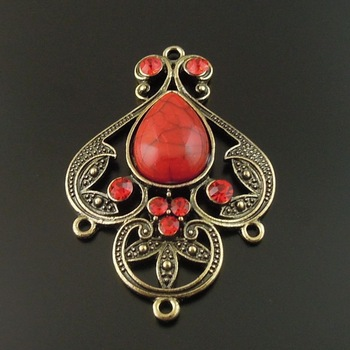 wholesale 4pcs Antique Bronze Alloy Red Imitation gemstones Charms Pendant Jewelry finding Connector 46*35*8mm for necklace