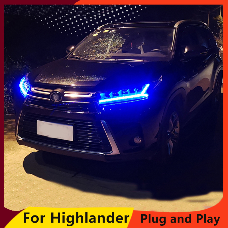 Car Styling for Toyota Highlander Headlights 2018 New Kluger DRL low beam High Beam LED Dynamic