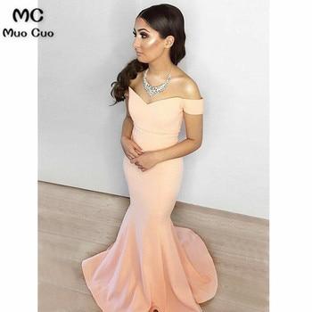 2018 Mermaid Off Shoulder Prom dresses Long V-Neck Zipper Back Vestidos de fiesta dress for graduation Formal Evening Dress
