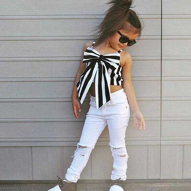 GEMTOT Hot Girls Set Tops Pants 2 Pcs Summer Stripes Ribbon Short Sling Fashion Hole Pants European Style Childrens Suits