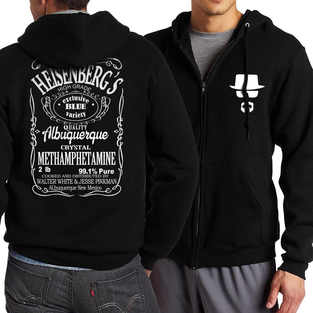 2018 Spring Autumn Breaking Bad Heisenberg Figure Printed Jackets Men  Hip Hop Hoodies Men Coat Plus Size S-4XL Zip Up Tracksuit