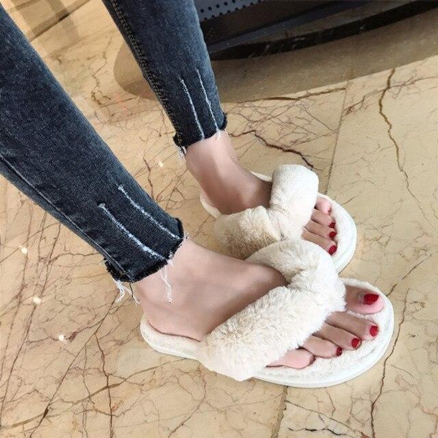 COOTELILI ฤดูหนาวแฟชั่นผู้หญิงรองเท้าแตะ Faux Fur รองเท้าผู้หญิงลื่นบนแฟลตหญิง Fur Flip Flops สีชมพู Plus ขนาด 36-41