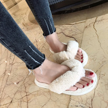 COOTELILI Winter Fashion Women Home Slippers Faux Fur Warm Shoes Woman Slip on Flats Female Fur Flip Flops Pink Plus Size 44 45 cheap Rubber Flat (≤1cm) 0-3cm Fits true to size take your normal size Short Plush c-379913 Basic Butterfly-knot Solid Indoor