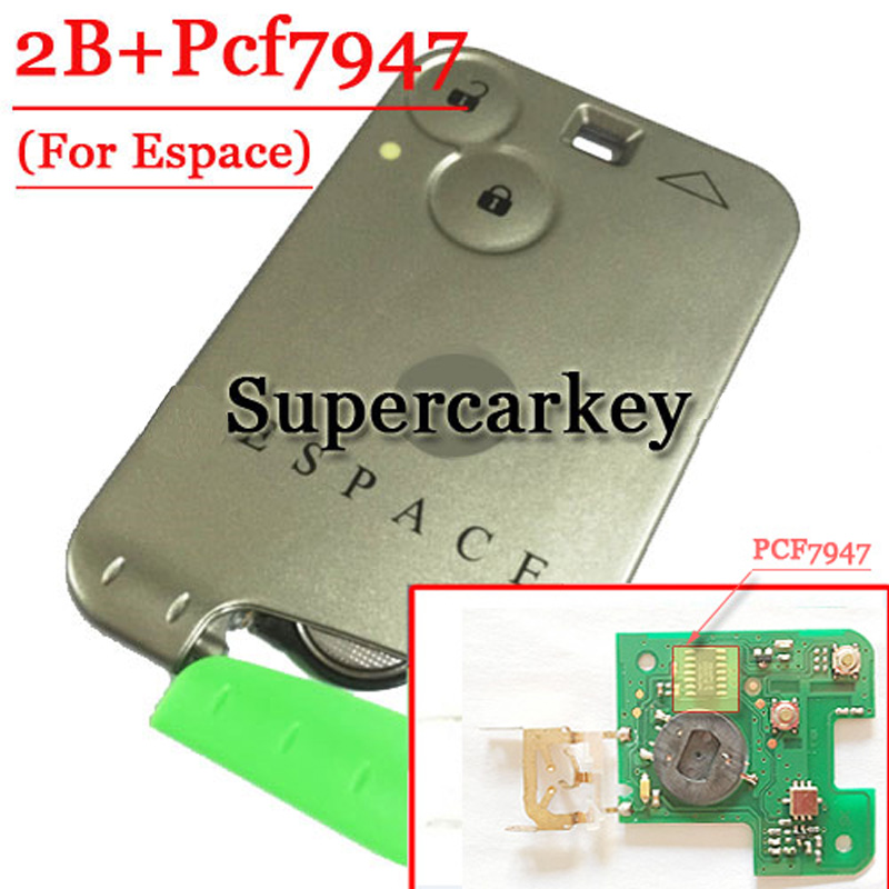 Free shipping 2 Button Remote Card PCF7947 Chip For Renault Espace with 433MHZ  1piece