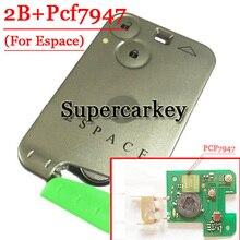 Frete grátis 2 botões cartão remoto pcf7947 chip para renault space com 433mhz (1 peça)