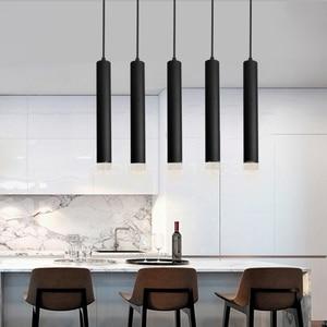Image 3 - LED תליון מנורת dimmable תליית אורות מטבח אי אוכל חדר חנות בר דלפק קישוט צילינדר צינור מטבח אורות