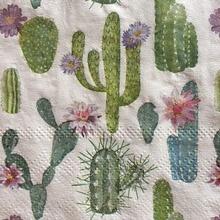20 servilletas cuadradas vintage para mesa con estampado de cactus, servilletas de papel con hermosa decoupage de flores, servilletas para decoración para fiesta de Navidad de boda
