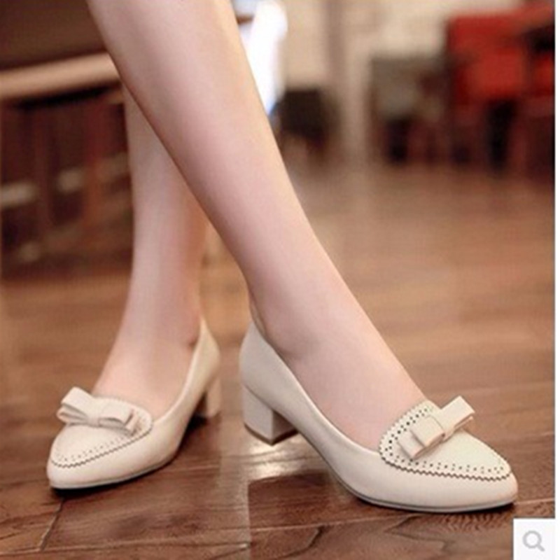 Lady Catchpenny sexy Bowtie Cut-outs big size(4-12pointed toe high square low heel Causal shoes Women pumps summer style 3colors