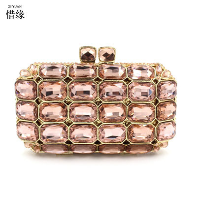 XI YUAN BRAND Women Evening pearl beaded Bags Ladies Wedding Party Bag Crystal Gold Clutch Diamonds Purses wallets for bride