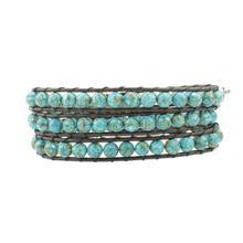 Vintage Leather Bracelets Round King Stone 3 Strands Woven Wrap Bracelet Handmade Multilayer Beads Jewelry Dropship