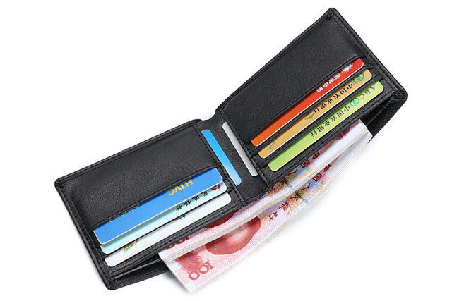 2017 New Fashion Luxury Brand Bifold Business Wallet Men PU Leather Black Credit/ID Card Holder Coin Pocket Purse Wallet