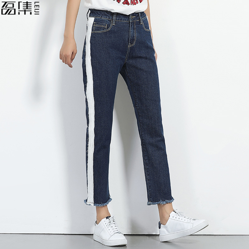 Jeans woman plus size Side stripes Ankle Length denim pant loose straight Trousers for women