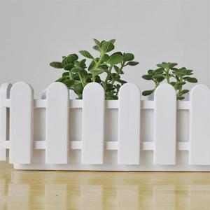 Image 4 - Wooden Fence Flower Pot Hanging Garden Basket Planter Plant fence artificial flowers Boxes For Wedding Home Decor