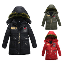 Hot sale boys outwear children's hooded handsome  long sleeve coat winter warm coat fashion coat