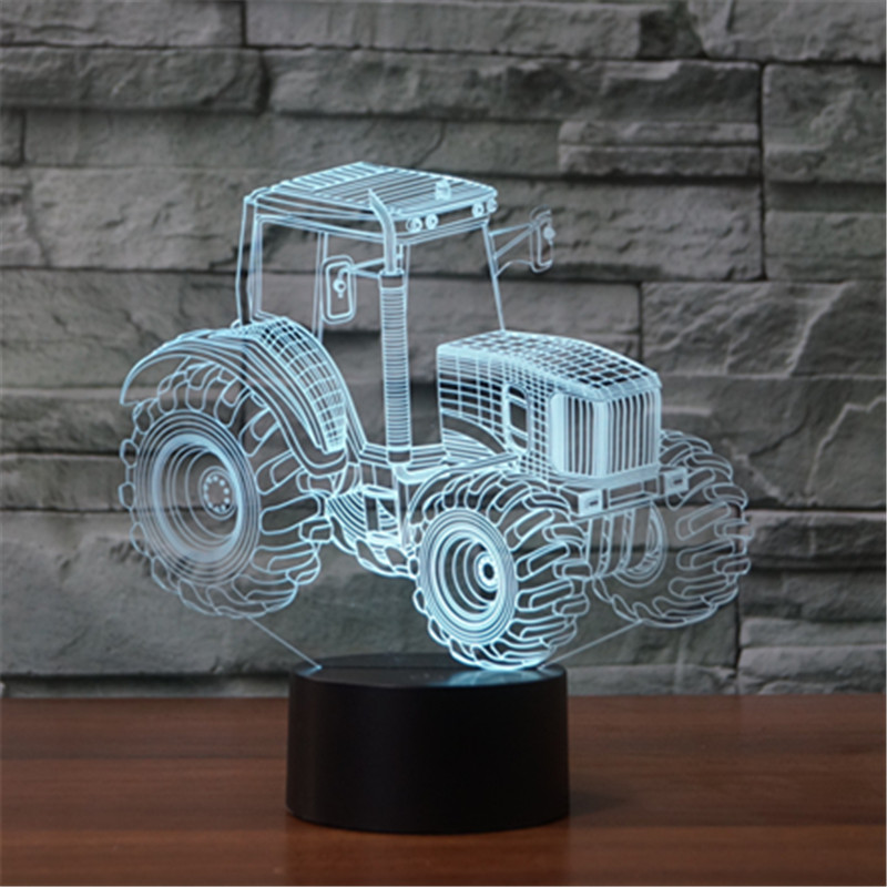 new type of foreign trade tractor 3D lamp seven color touch charge charging LED visual lamp gift table lamp As Kids Toy Gift