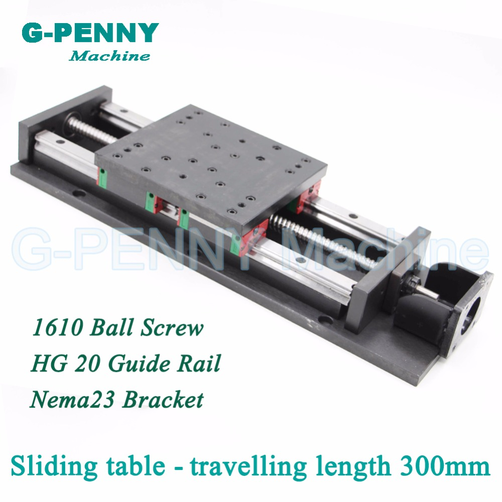 Высокая точность раздвижной стол путешествия длина 300 мм китайский HG 20 линейных направляющих линейного перемещения, ШВП 1610 для Z оси