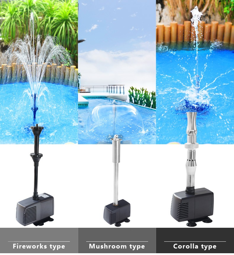 Pool Landscaping Fountain Pump Small Medium And Large Fish Tank Diving With LED Colored Lights Defferent effects