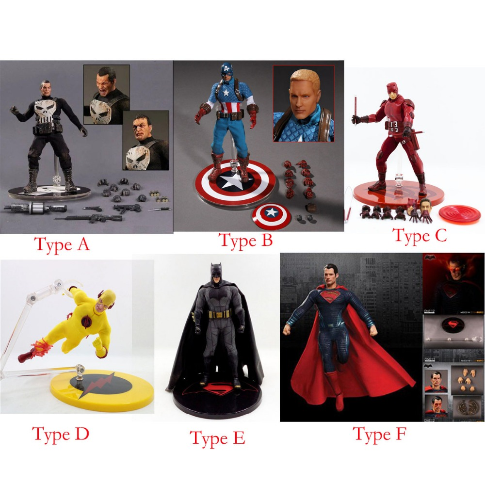 Movie One:12 Collective 6 Action Figure Flash Captain Batman Superman The Punisher No Box Free Shipping hardin collective action