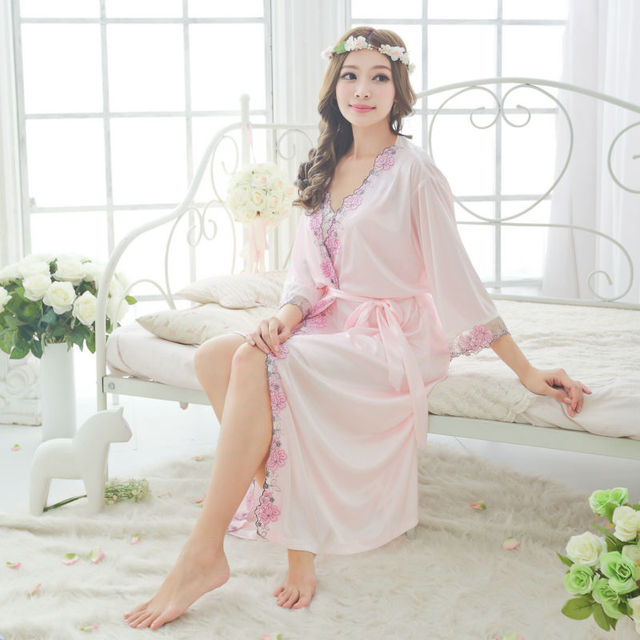 Robe & Gown Sets Bathrobe Womens Kimono Satin Long Robe Sexy Lingerie Hot Sleepwear with Belt long robe