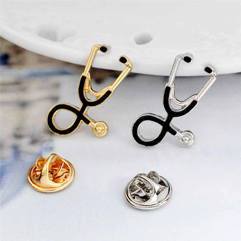 Kecil Logam Stetoskop Bros Pin untuk Dokter Perawat Siswa Jaket Mantel Kerah Kemeja Kerah Pin Lencana Medis Perhiasan
