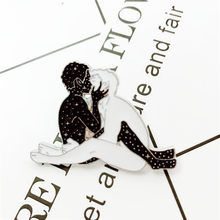 XEDZ hot sale two men black and white gay stars body art touch face kiss legs metal enamel lapel clothes jewelry pins(China)