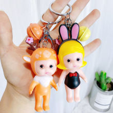 Cute Cartoon Sleeping Baby Doll Keychain Porte Clef Women Keyring Car Trinket Couple Key Chains Kids Toy Key Ring Bag Pendant цена и фото
