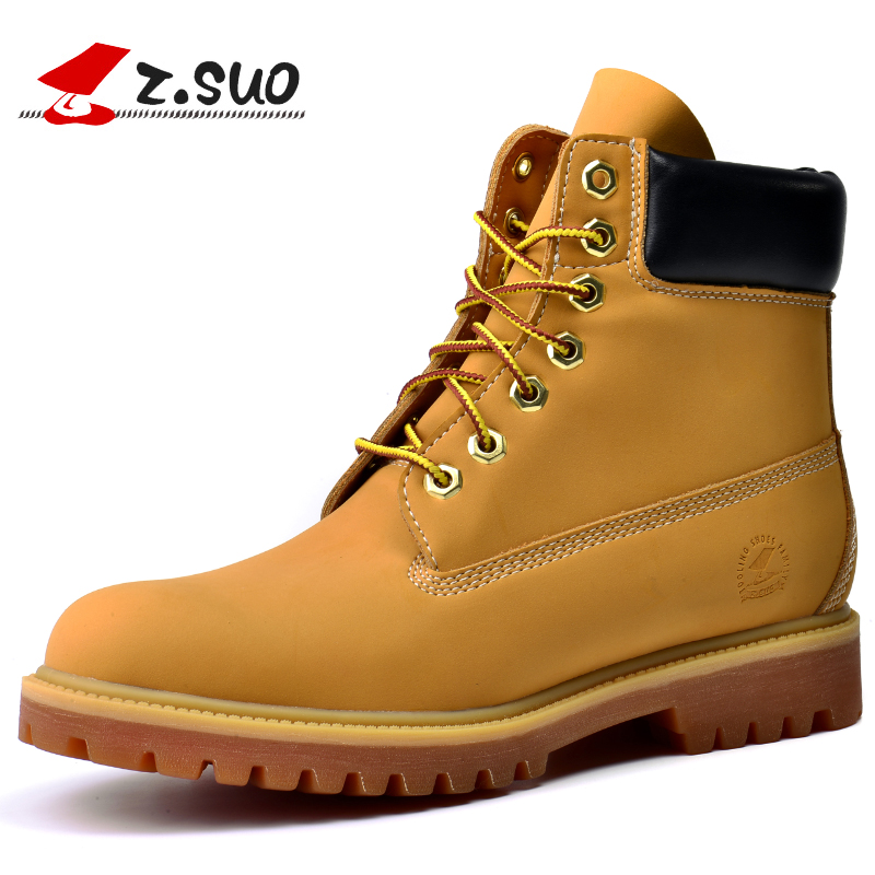 Z.SUO Brand Classic Casual Men Boots, Autumn Breathable Comfortable Lace-up Ankle Boots ,Black White Yellow Tooling Boots Men