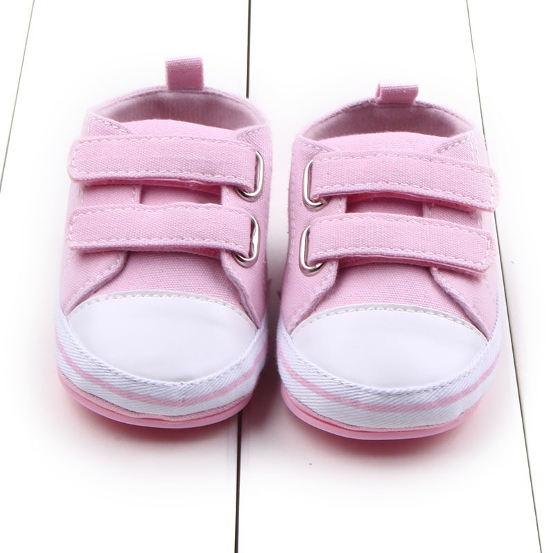 Spring Autumn Baby Canvas Shoes Baby Boys and Girls Toddler Shoes Newborn Undrop Hook & Loop Shoes Rubber Base