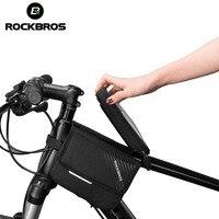 ROCKBROS Bike Rahmen Tasche 6 0 ''Fahrrad Werkzeuge Top Rohr Tasche Tasche Radfahren Wasserdicht Vorne Touch Screen Telefon Tasche Zwei zipper Korb-in Fahrradtaschen & Koffer aus Sport und Unterhaltung bei