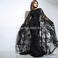 Arábia Árabe Dubia 2017 Sexy Preto Vestidos de Noite de Renda Wraps Lantejoulas Frisado Plus Size Vestidos Longos de Noite Vestidos de Festa Vestido