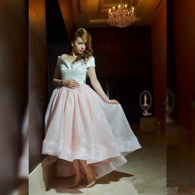 Pink Muslim   Evening     Dresses   2019 A-line Off The Shoulder Tulle Pearl Islamic Dubai Saudi Arabic Long Elegant Prom   Evening   Gown