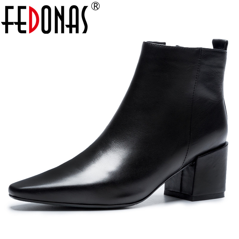 FEDONAS New Quality Women Ankle Boots High Heels Pointed Toe Motorcycle Boots Genuine Leather Warm Basic Boots Office Pumps enmayer high quality new pointed toe spike heels ankle boots winter platform boots for women leather motorcycle boots
