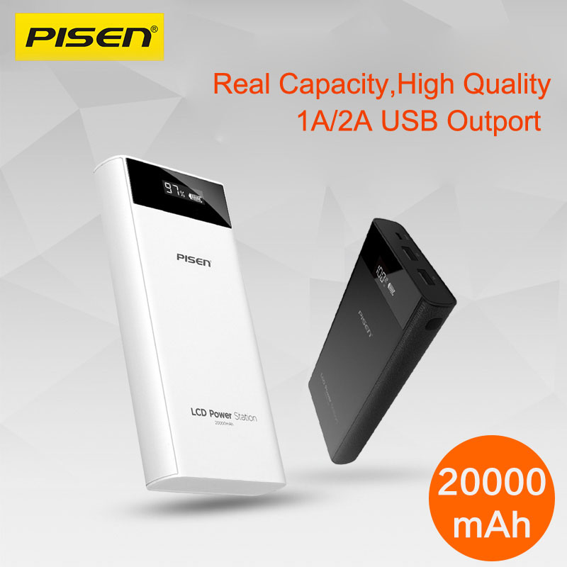 imágenes para PISEN Original 2A 20000 mAh Móvil Banco de la Energía 18650 20000 mah LCD Dual USB Powerbank Cargador Rápido de Batería Para xiaomi mi Poverbank