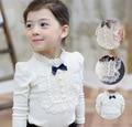 Girls Spring Autumn Thicken With Velvet Long-sleeved Cotton Baby Kids T-shirt Children Wear Lace Blouse Autumn Child Shirt