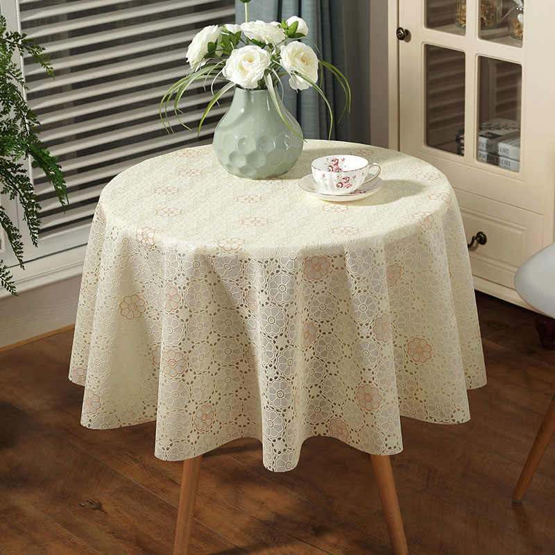 Large Round Table Cloth.Slow Forest Lace Tablecloth Table Pvc Plastic Pad Large Round Table Cover Small Round Waterproof And Oil Proof Hot Table Cloth