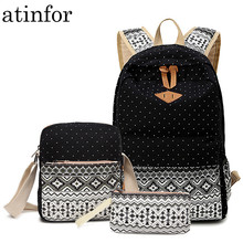 Dot Canvas Printing Backpack Women School Back Bags for Teen