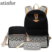 Dot Canvas Printing Backpack Women School Back Bags for Teenage Girls Cute Black Set Travel Backpacks Female Bagpack Rucksack