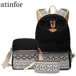 Dot impressão em tela mochila feminina escola de volta sacos para meninas adolescentes bonito preto conjunto mochilas viagem feminino bagpack
