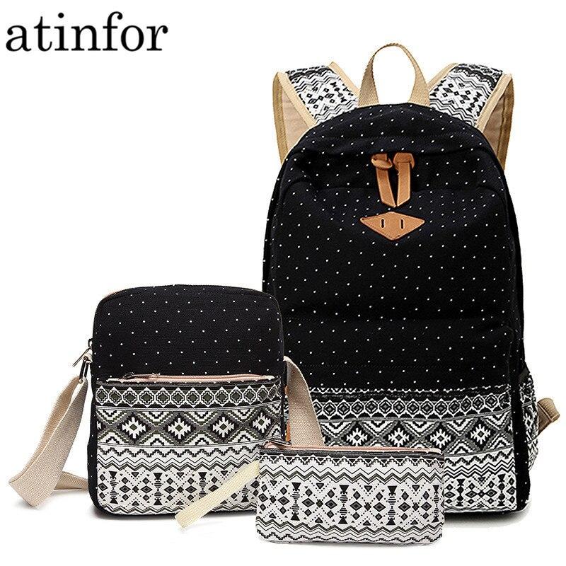 Mochila de lona con estampado de puntos para mujeres mochilas escolares para chicas adolescentes lindo negro conjunto de mochilas de viaje para mujer mochila