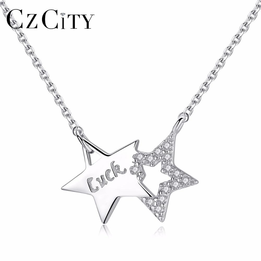 CZCITY Authentique 925 Sterling Silver Star Pendentif Collier pour Femmes Beaux Bijoux Zircon Clair Étoiles 2018 Date Arrivée Bijoux