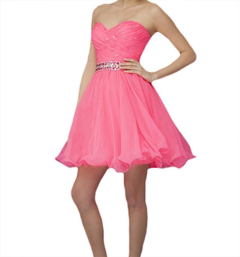 Junior Modest Organza Corto de Color Rosa Vestidos de Fiesta Barato ...