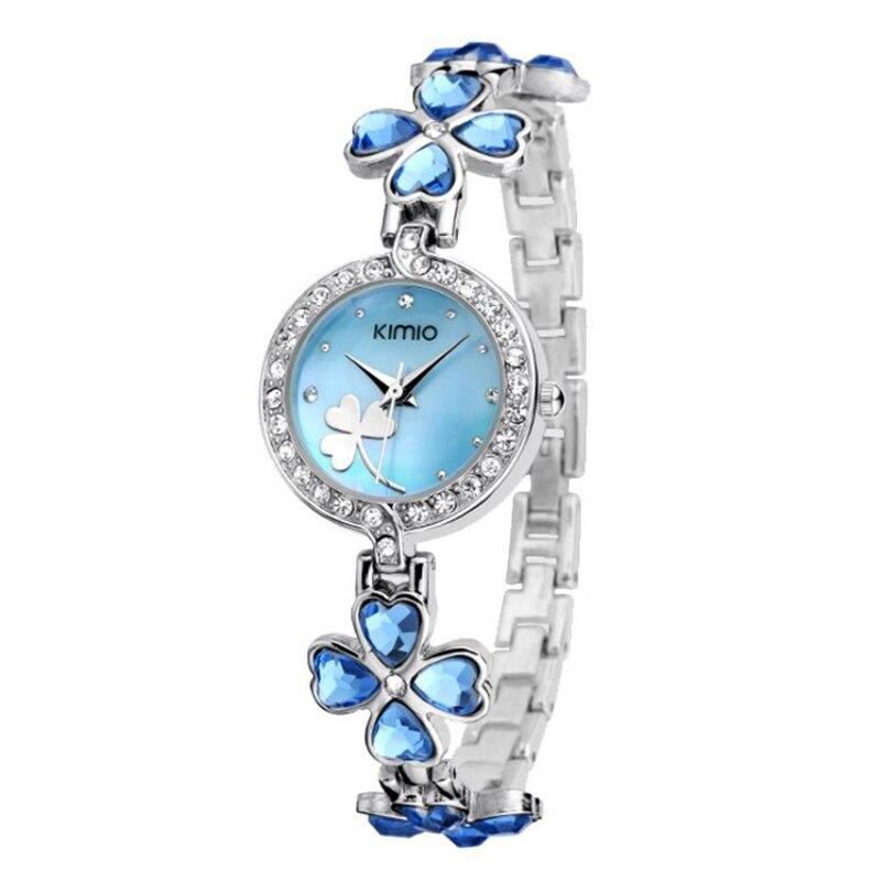 Kimio Fashion Women's four leaf clover Bracelet Quartz Wrist Watch blue equte women s vintage double birds four leaf clover style weave bracelet white blue