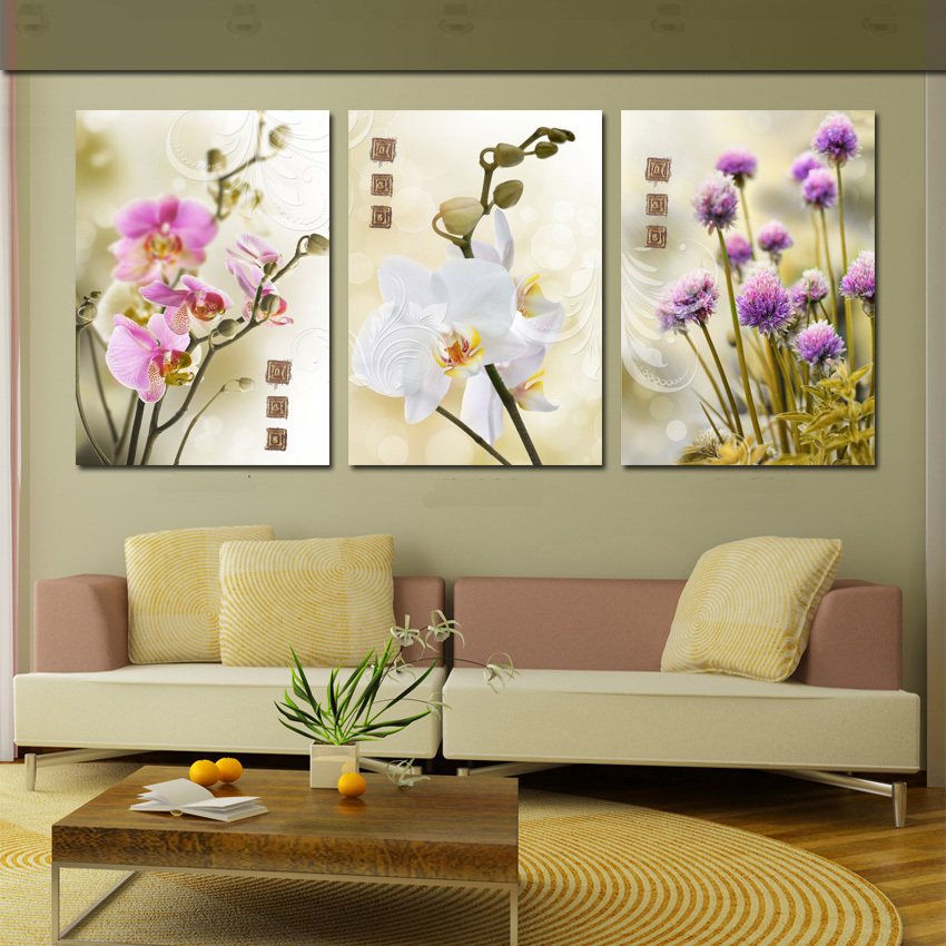 3 Piece Modern Flower Painting Purple Pink White Flowers Orchid