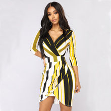 2019 Fashion V-Neck Slim Mini Dress Black Yellow Striped Women Spring Three Quarter Sleeve Backless Dresses Vestido